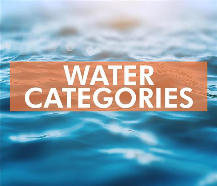 Blue water background with a sign that says Water Categories